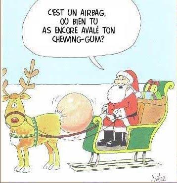 Noël : renne à air-bag